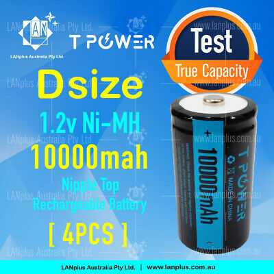 AU41.65 • Buy 4x Tpower 1.2V D Size 10000mah Ni-MH Rechargeable Battery NIMH Cell Batteries