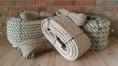 Natural Jute Hessian Rope Twisted Decking Cord Garden Boat Sash Camping 6-60mm • 0.99£