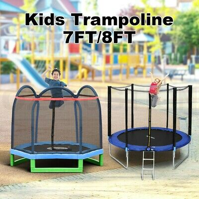 AU204.95 • Buy Genki 7/8ft Trampoline Round With Safety Net Enclosure Spring Pad Cover & Ladder