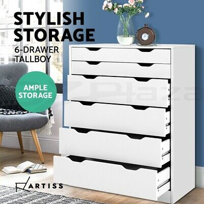 AU140.90 • Buy Artiss 6 Chest Of Drawers Tallboy Dresser Table Storage Cabinet White Bedroom