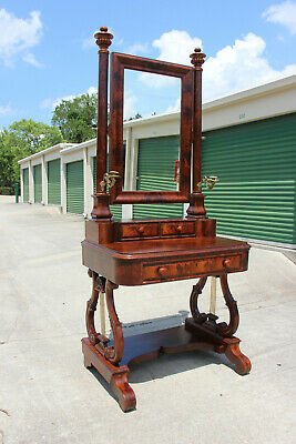 $2450 • Buy Spectacular Classical Empire Period Flame Mahogany Vanity Dressing Table Ca1820