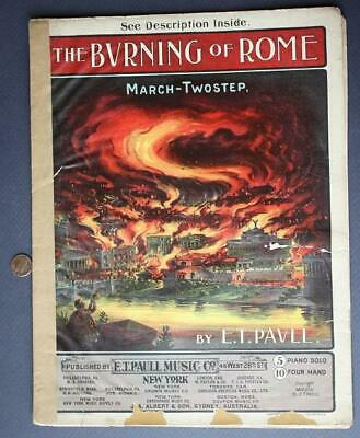 $9.99 • Buy RARE 1903 E.T.Paull The Burning Of Rome Two-Step Sheet Music-Beautiful Graphics*