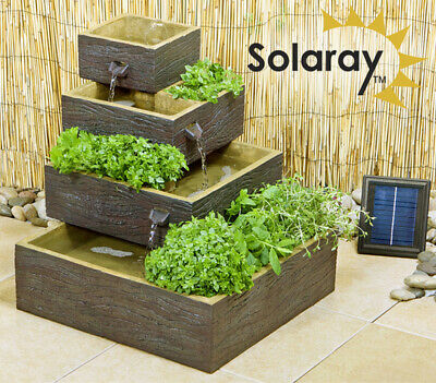 Solar Water Feature Herb Planter Dalton Square 4-Tier Cascading Dark Wood H42cm • 107.99£