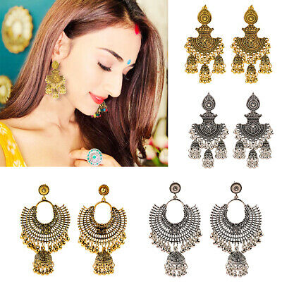 AU2.83 • Buy India Gold Silver Oxidized Stud Jhumka Indian Earrings Jewelry For Girls Women