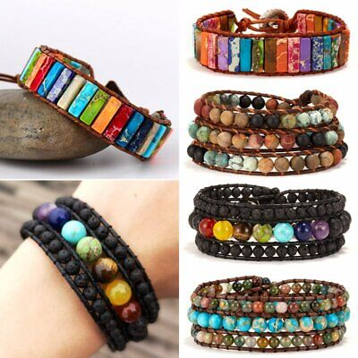 AU6.10 • Buy Natural Stone Lava Healing Chakra Retro Beaded Bracelet Bangle Women Jewelry