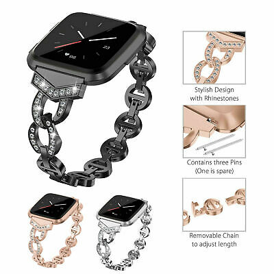 $ CDN17.42 • Buy For Fitbit Versa Lite Lady Bling Fitness Wrist Band Stainless Steel Watch Strap