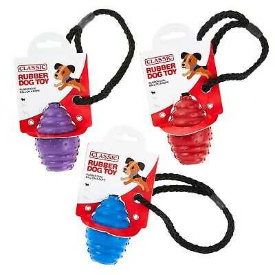 £6.66 • Buy Small Solid Tough Hard Rubber Dog Rope Oval Ball Fetch Toys Blue Purple Red