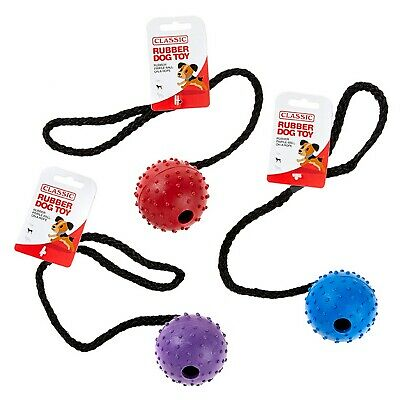 £7.18 • Buy Large Solid Tough Hard Rubber Dog Rope Pimple Ball Fetch Toys Blue Purple Red
