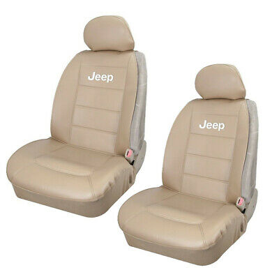 $52.23 • Buy JEEP Elite Tan Synthetic Leather Car Truck Suv 2 Front Sideless Seat Covers Set
