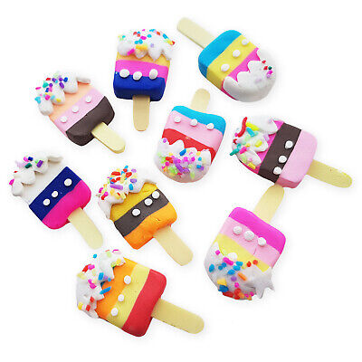 5pcs Clay Ice Cream Lolly Cabochon Embellishments Decoden Phone Craft Kawaii • 2.79£