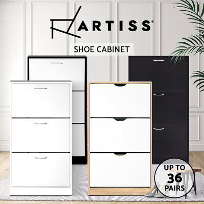 AU111.90 • Buy Artiss Shoe Cabinet Shoes Storage Rack Organiser Cupboard 36 Pairs Wooden Stand