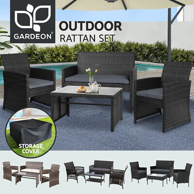 AU295.95 • Buy Gardeon Outdoor Lounge Setting Sofa Dining Furniture Wicker Chair Table Patio