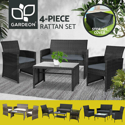 AU284.99 • Buy Gardeon Outdoor Sofa Set Dining Furniture Lounge Wicker Chair Table Garden Patio