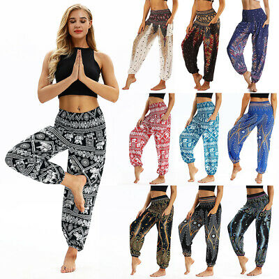 AU25.98 • Buy Women's Harem Pants Baggy Hippie Boho Yoga Gyspy Genie Indian Aladdin Trousers A