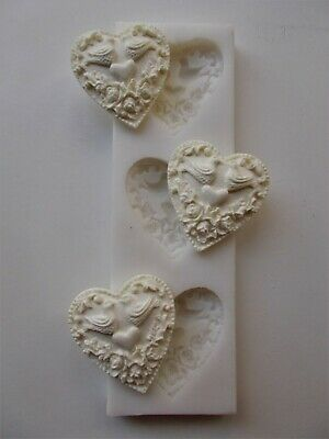 £24 • Buy Love Hearts Turtle Doves Silicone Rubber Mould Three Hearts Arts & Crafts