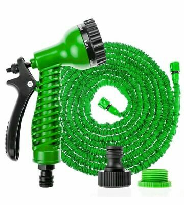 Expandable Flexible Hosepipe Garden Hose Pipe Magic Snake + Gun Green Watering • 12.95£