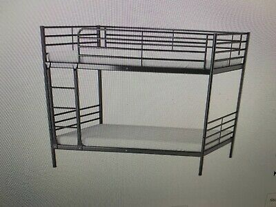 Ikea 'SVARTA' Bunk Bed  Silver With Climbing Steps, Very Good Condition • 110£