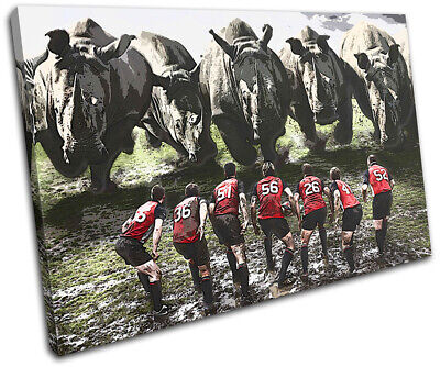 £19.99 • Buy Rugby League Funny Rhino Union Sports SINGLE CANVAS WALL ART Picture Print