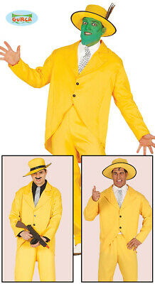 £22.99 • Buy Mens Yellow Gangster Fancy Dress Costume 1990s The Mask Type Outfit Suit New Fg