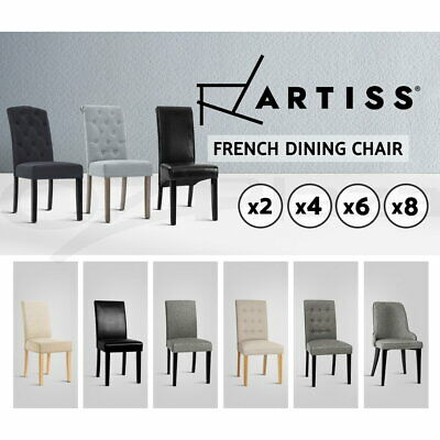 AU186.95 • Buy Artiss Dining Chairs French Provincial Kitchen Chair Fabric Leather Wood 2/4/6/8