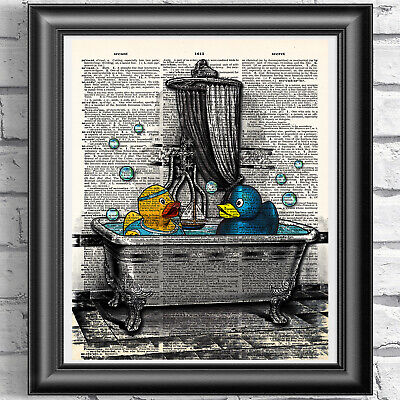 Rubber Ducks Art Print On Dictionary Book Page Wall Art Bathroom Decor Picture • 5.99£