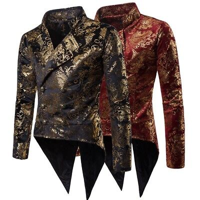 Mens Tuxedo Jackets Gothic Tailcoat Steampunk Victorian Nightclubs Party Costume • 30.45£