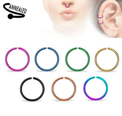 AU5.80 • Buy Titanium Plated Steel Annealed Hoop Ring Nose Ear 14g 16g 18g 20g 7, 8 10mm #RX2