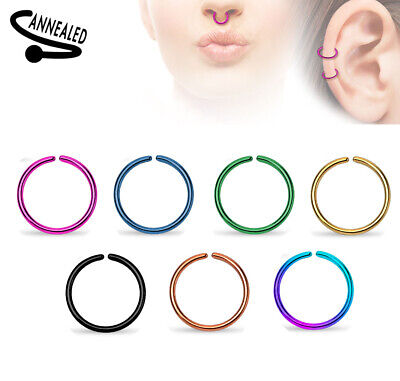 AU5.80 • Buy Titanium Plated Steel Hoop Ring Nose Ear 14g 16g 18g 20g 7mm 8mm 10mm #RX2