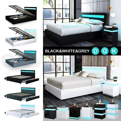 AU369.95 • Buy RGB LED Bed Frame Bedside Table Double Queen King Size Gas Lift Bed Base Storage