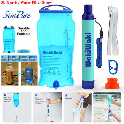 $19.86 • Buy 3L Portable Gravity-Fed Water Purifier Portable Water Filter Straw BPA Free