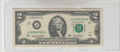 $12 • Buy 2003 A (J) $2 Two Dollar Bill Federal Reserve Note Kansas City Fancy 5 0s