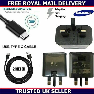 Genuine Samsung Fast Charger Plug & 2M USB-C Cable For Galaxy S8 S9 S9+ Plus Lot • 3.99£