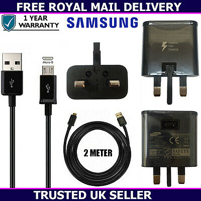 Genuine Samsung Fast Charger Plug & 2M USB Cable For Galaxy S6 S7 Edge+ Plus Lot • 3.75£