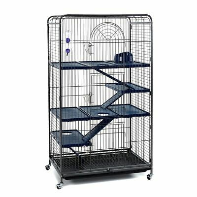 Large Black Tall Rat Ferret Chinchilla Cage On Wheels With Accessories - 140cm • 124.99£