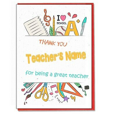 Personalised Thank You Card Teacher Teaching Assistant Head Master Mistress 01 • 3.49£