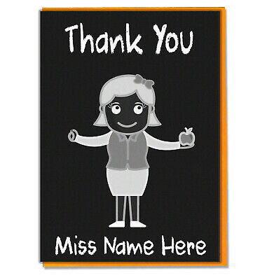 Personalised Thank You Card Teacher Teaching Assistant Head Mistress Chalkboard  • 3.49£