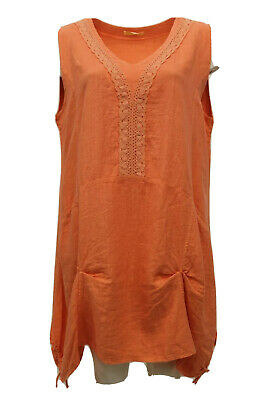 """Nwt La Bass Women's Summer Linen Tank Tunic Pullover Coral Plus Size 1 Bust 54"""" • 31.47£"""