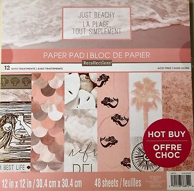 $16.99 • Buy ~just Beachy~12x12 Scrapbooking Cardstock Paper Pad 48 Lot~recollections~new