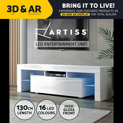 AU139.95 • Buy Artiss 130cm RGB LED TV Cabinet Entertainment Unit Stand Gloss Furniture White