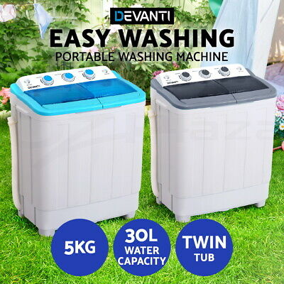 AU169.95 • Buy Devanti Mini Washing Machine Portable Twin Tub Caravan Camping Top Load Spin 5kg