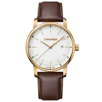 $ CDN79.16 • Buy Wenger Men's Watch Urban Classic White Dial Brown Leather Strap 01.1741.108