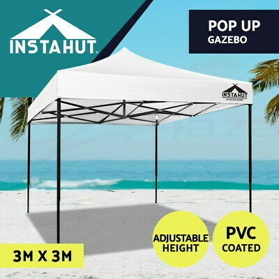AU104.90 • Buy Instahut Gazebo Pop Up Marquee 3x3 Outdoor Tent Folding Wedding Gazebos White