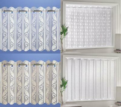 Corsica Lace Net Voile Louvre Vertical Pleated Window Blind Panel Cream / White • 7.59£