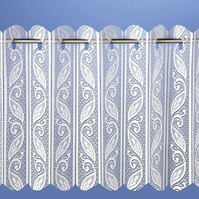 Corsica Lace Net Voile Louvre Vertical Pleated Window Blind Panel - White • 10.49£
