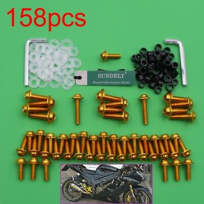 Hot 158x Motorcycle Fairing Screw Bolts For Yamaha YZF R6 YZF-R6 1999-2002 Gold • 9.97£