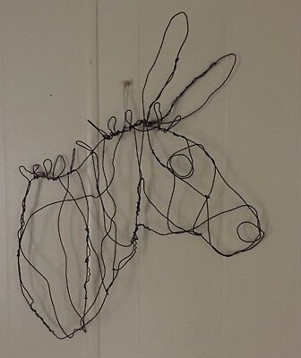 New Donkey Head Wire Sculpture Wall Hanging 25  X 20  X 4  • 29.93£