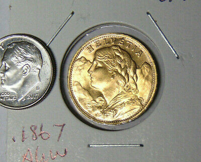 $355 • Buy 1935-LB Swiss Helvetia Gold 20 Franc Coin Uncirculated