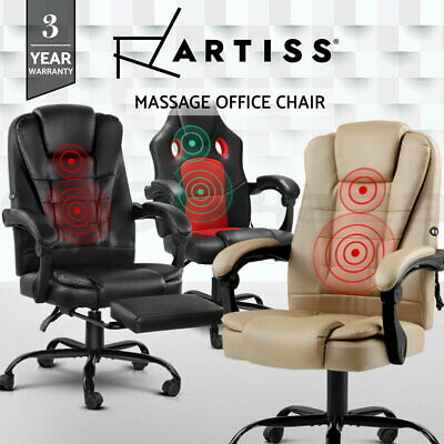AU219 • Buy Artiss Massage Office Chair PU Leather Recliner Computer Gaming Chairs Seating