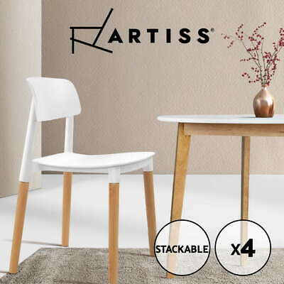 AU117.95 • Buy Artiss Belloch Replica Dining Chairs Stackable Chair Wood Leg Kitchen Cafe X4