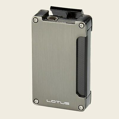 Lotus Duet 3-Eleven Single Torch Butane Lighter W/ Cigar Punch - Gunmetal - New • 19.13£